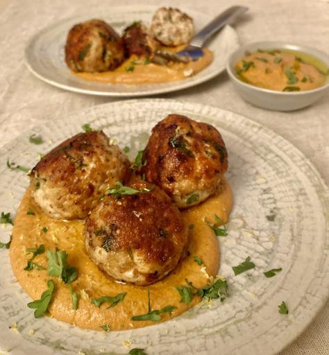 Quick Turkey Meatballs with Walnut Romesco