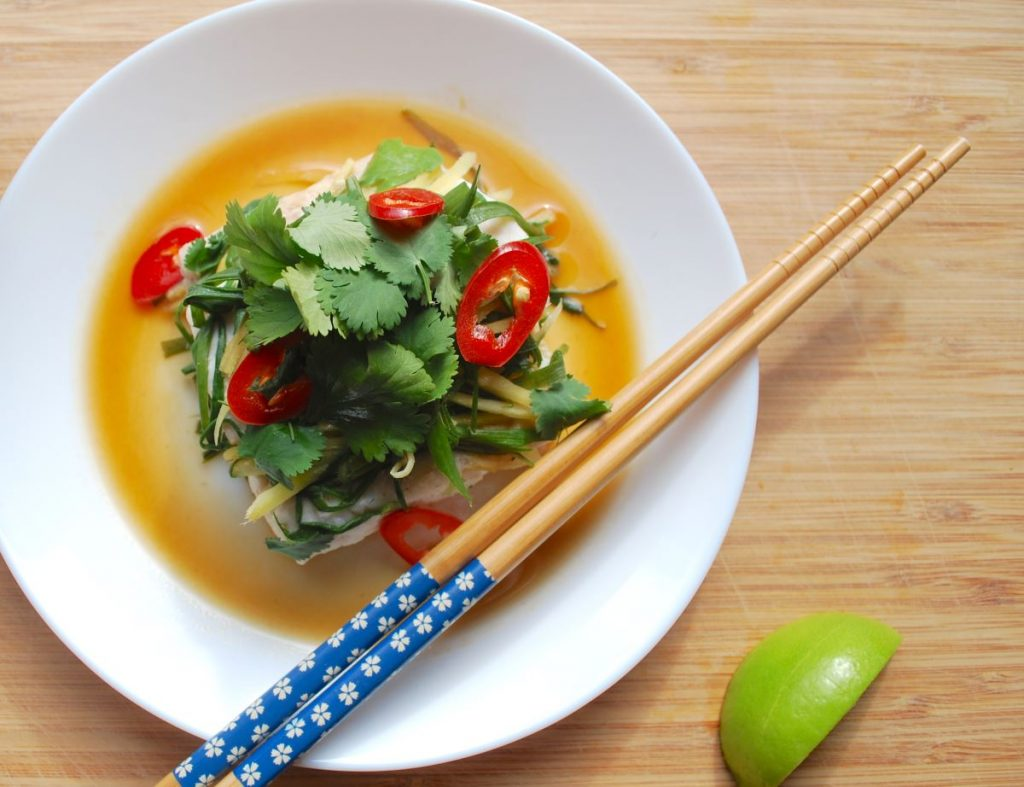 Chinese Style Steamed Fish with Ginger & Spring Onion