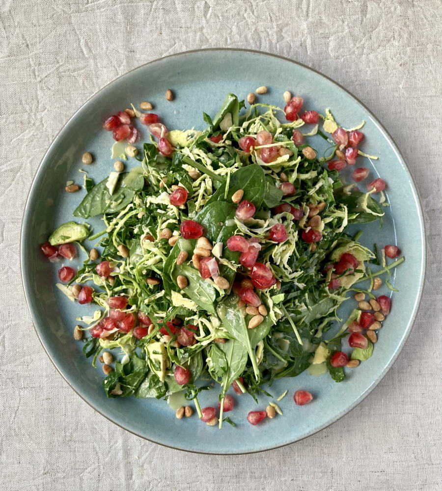 Brussel Sprout, Kale & Spinach Salad