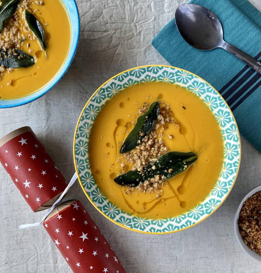 Squash soup with chestnut dukkah & fried sage
