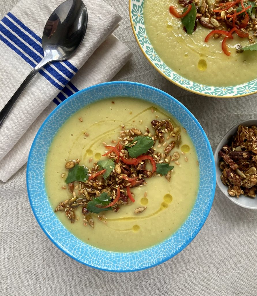 Spiced Parsnip Soup with Pecan & Pumpkin Seed Crunch